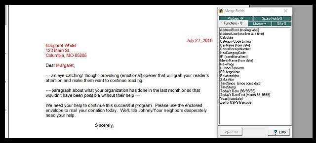 Use the FundRaiser Built-In Word Processor for the Smoothest Mail Merging